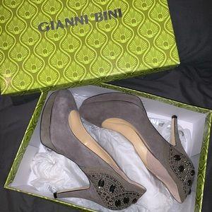 Gianni Bini Suede Stone Heels